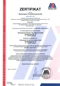 DIN1090 Zertifikat